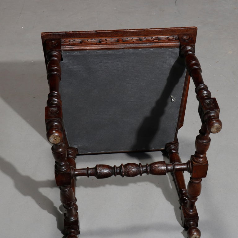 Antique Set of 6Continental Deeply Carved Genre Scenes Oak Dining Chairs, c 1890 For Sale 13