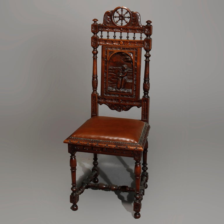 Gothic Antique Set of 6Continental Deeply Carved Genre Scenes Oak Dining Chairs, c 1890 For Sale