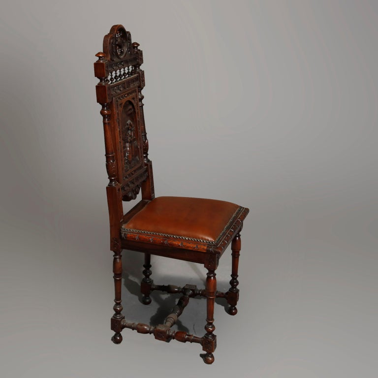 German Antique Set of 6Continental Deeply Carved Genre Scenes Oak Dining Chairs, c 1890 For Sale