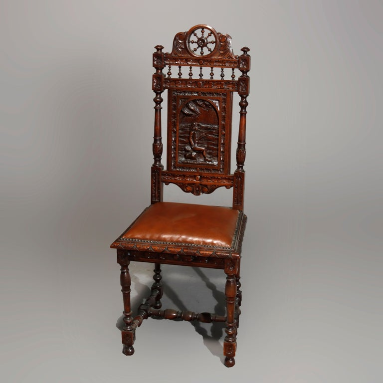 Antique Set of 6Continental Deeply Carved Genre Scenes Oak Dining Chairs, c 1890 In Good Condition For Sale In Big Flats, NY