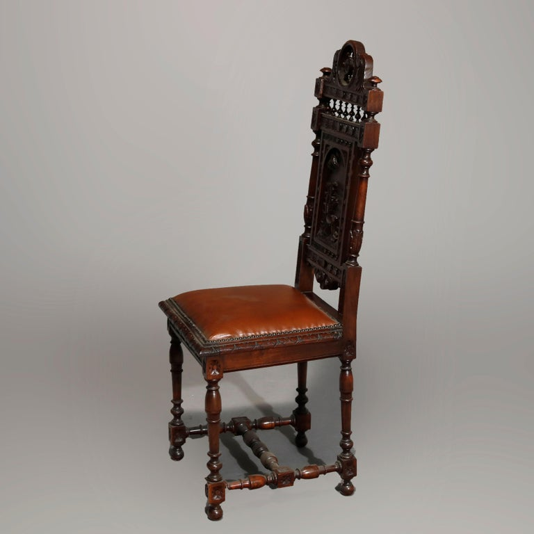 19th Century Antique Set of 6Continental Deeply Carved Genre Scenes Oak Dining Chairs, c 1890 For Sale