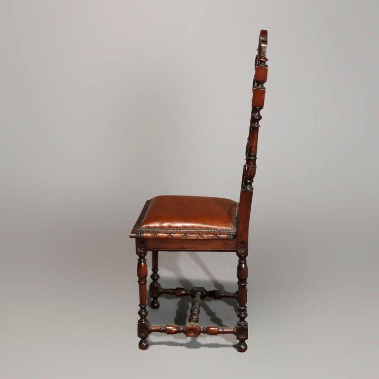 Wood Antique Set of 6Continental Deeply Carved Genre Scenes Oak Dining Chairs, c 1890 For Sale