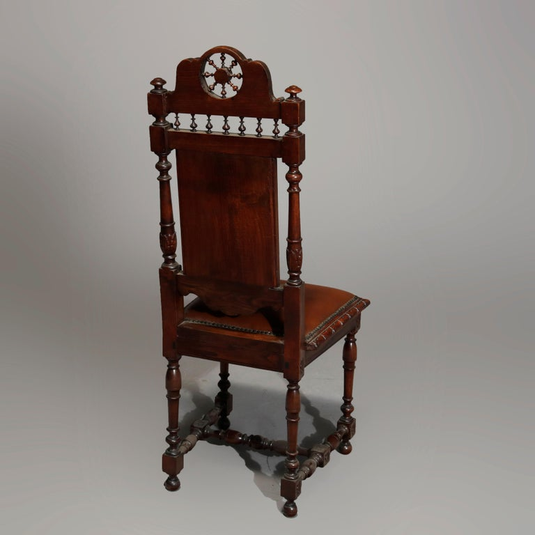Antique Set of 6Continental Deeply Carved Genre Scenes Oak Dining Chairs, c 1890 For Sale 1
