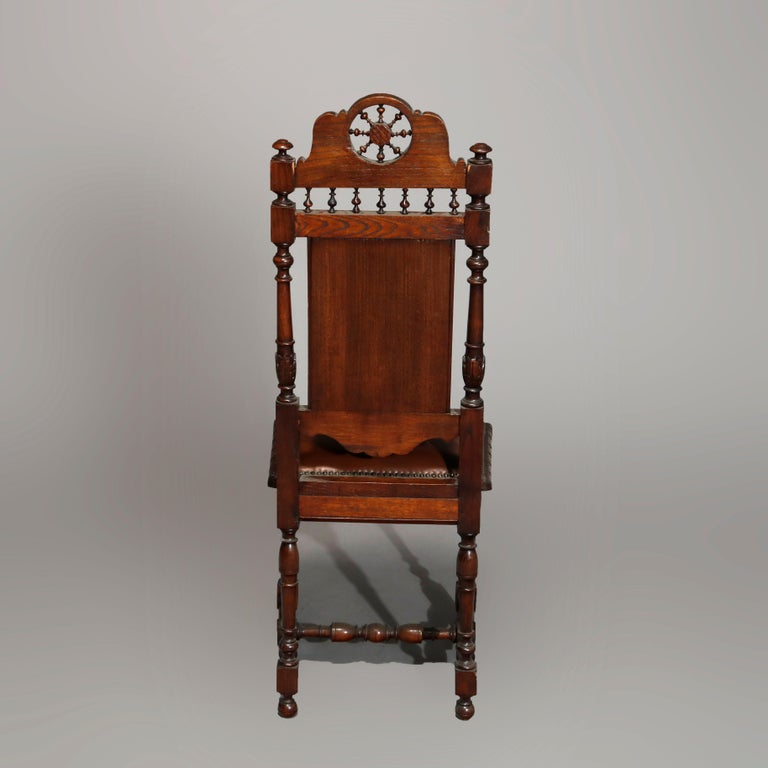 Antique Set of 6Continental Deeply Carved Genre Scenes Oak Dining Chairs, c 1890 For Sale 2