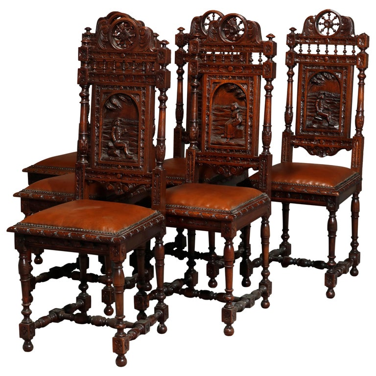 Antique Set of 6Continental Deeply Carved Genre Scenes Oak Dining Chairs, c 1890 For Sale