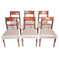 Antique Set of Six George III Mahogany Brass Inlay Dining Chairs