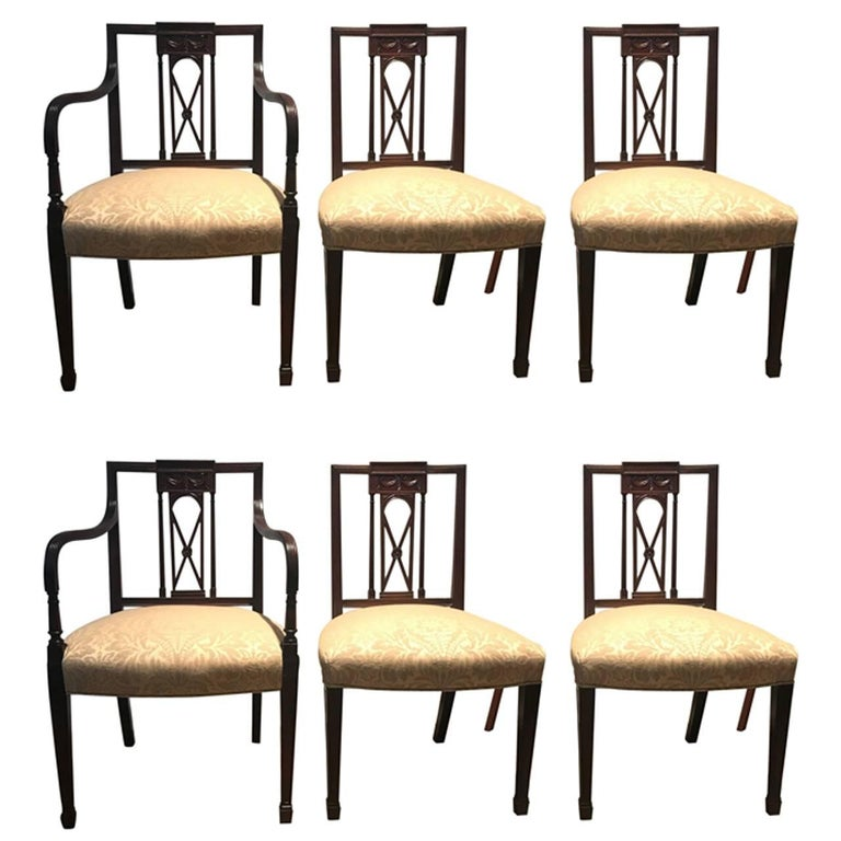 Antique Dining Room Chairs For Sale: Antique Set Of Six Hand-Carved Mahogany Hepplewhite Dining