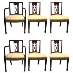Antique Set of Six Hand Carved Mahogany Hepplewhite Dining Chairs