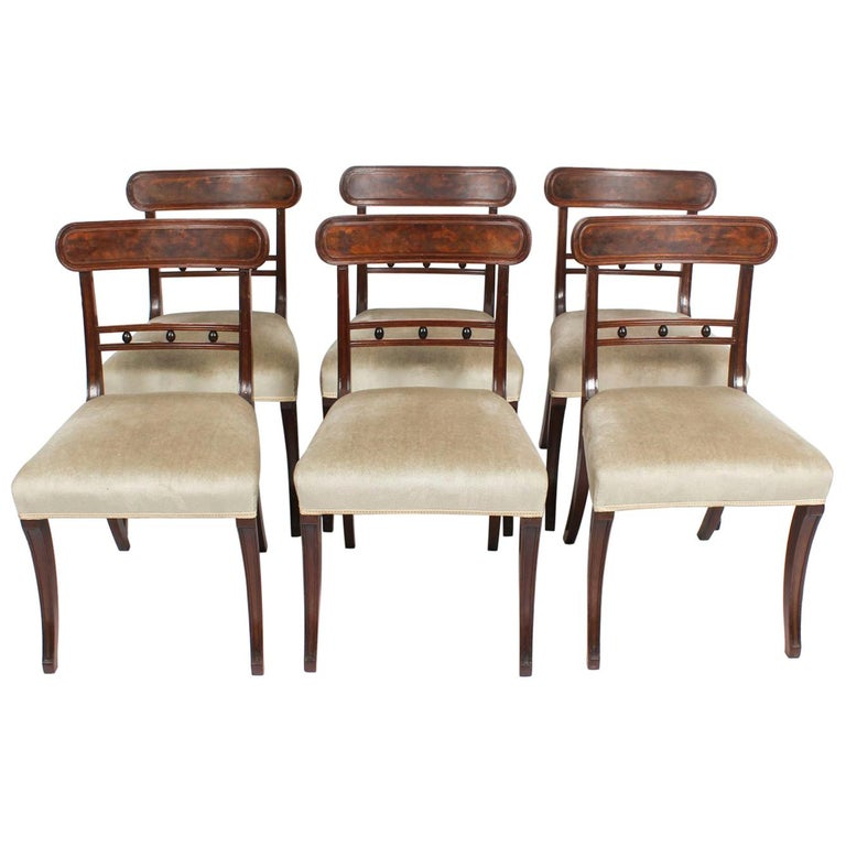 Antique Set of Six Regency Mahogany Dining Chairs, 19th Century For Sale