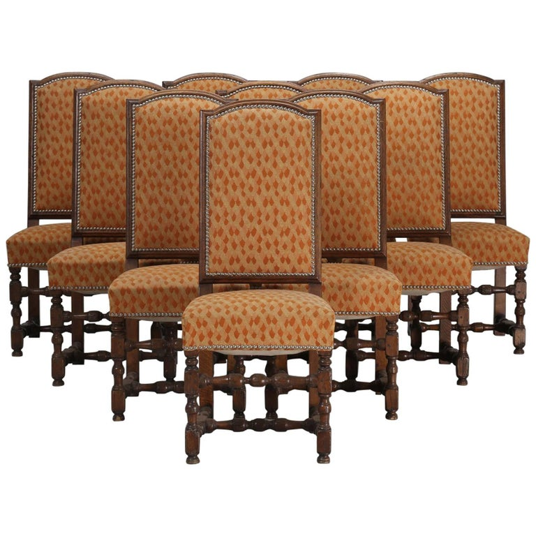 Antique Set of Ten French Oak Dining Table Chairs For Sale - Antique Set Of Ten French Oak Dining Table Chairs For Sale At 1stdibs