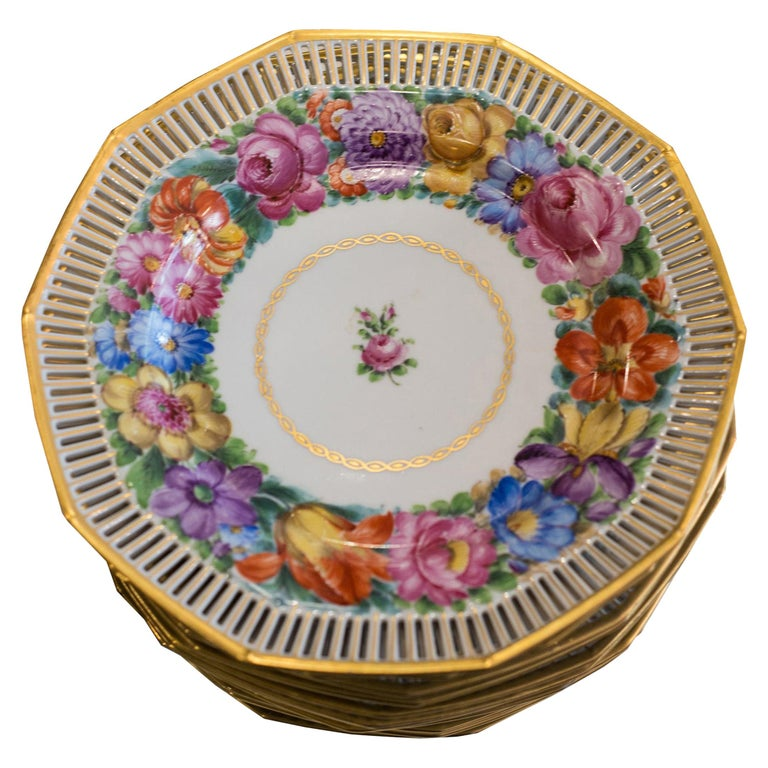 Antique Set of Twelve Dresden Hand Painted Multicoloured Floral and Gilt Plates For Sale