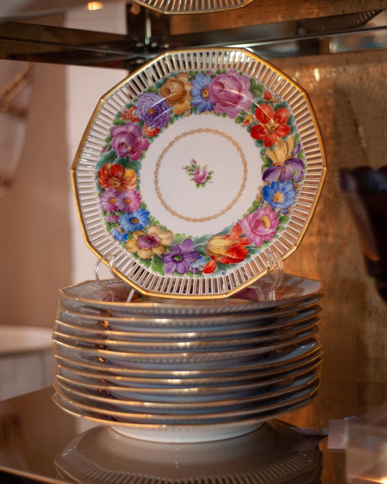 German Antique Set of Twelve Dresden Hand Painted Multicoloured Floral and Gilt Plates For Sale