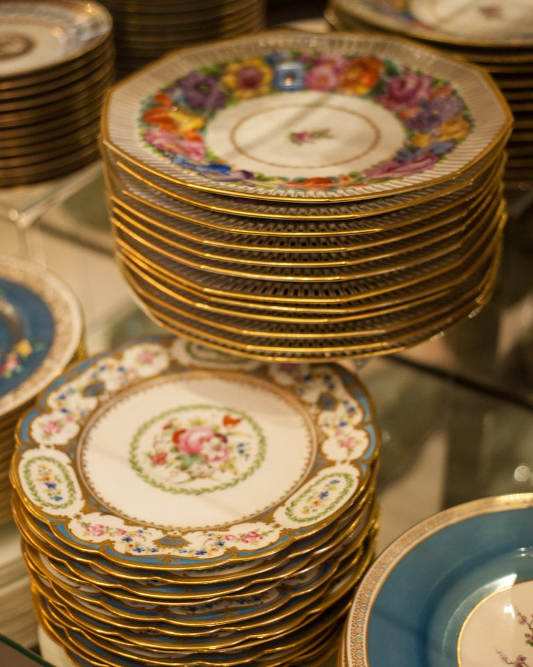 Hand-Painted Antique Set of Twelve Dresden Hand Painted Multicoloured Floral and Gilt Plates For Sale
