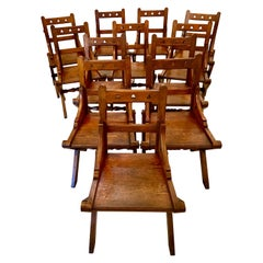Antique Set of Twelve Gothic Pitch Pine Dining Chairs
