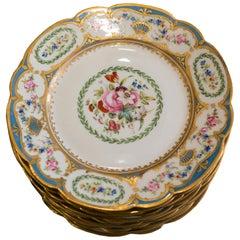 Antique Set of Twelve Porcelaine de Paris Hand Painted and Gilt Plates