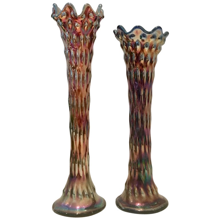 """Antique Set of Two American Blown Art Glass """"Rustic"""" Vases For Sale"""