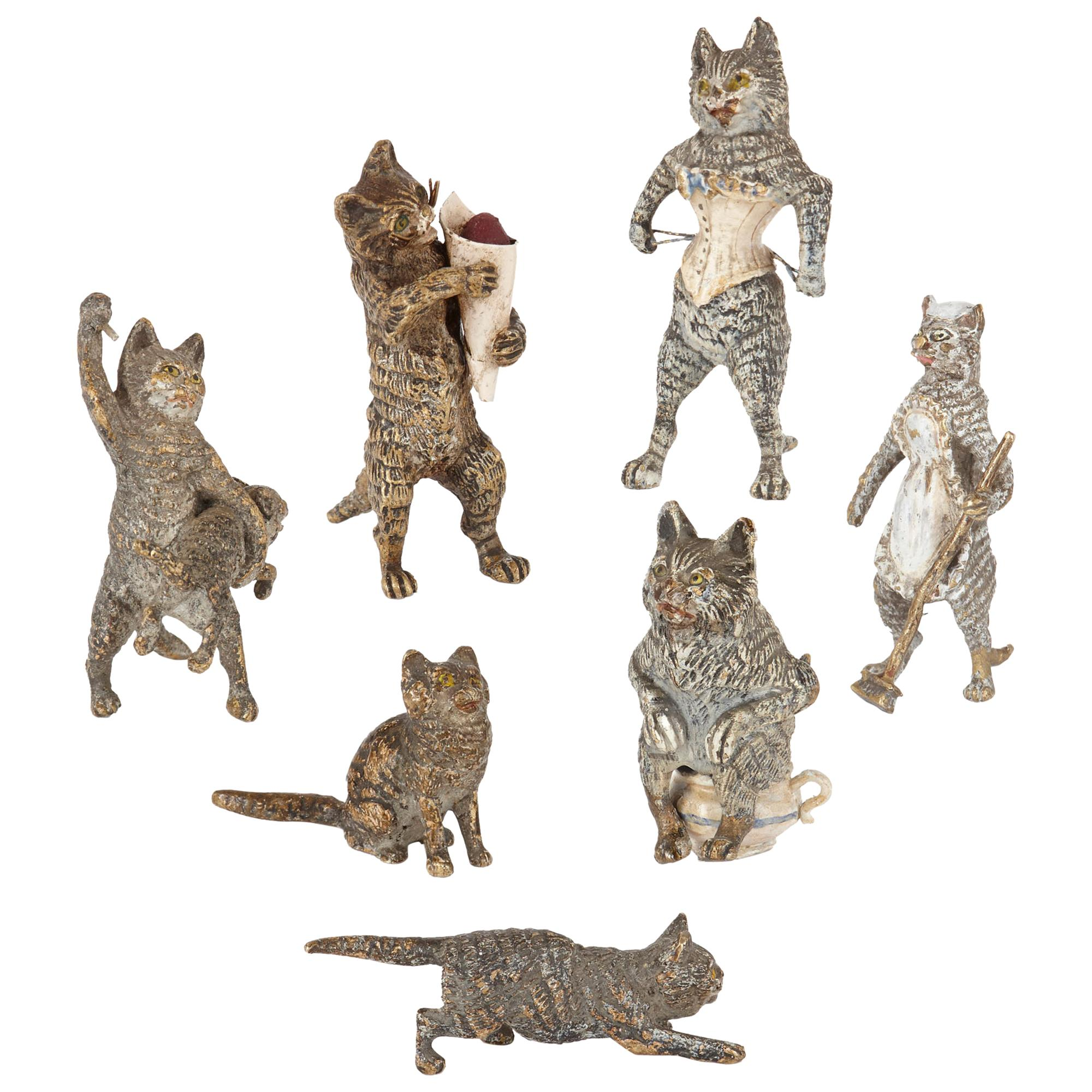 Antique Set of Viennese Cold Painted Bronze Cats