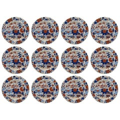 Antique Set of Twelve Masons Ironstone China Imari Cabinet Plates