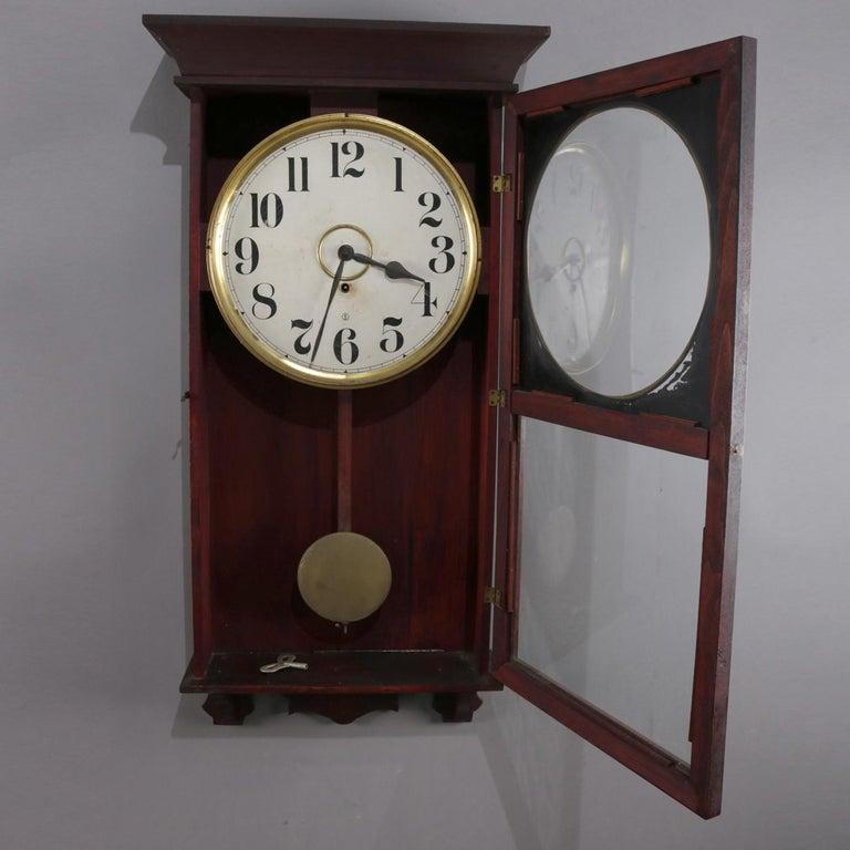 Antique Seth Thomas School Mahogany Regulator Wall Clock