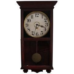 Antique Seth Thomas School Mahogany Regulator Wall Clock by Gilbert Clock Co.