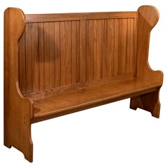 Antique Settle Bench Pew Tavern Hall Seat Solid Oak Quality, Mid-20th Century