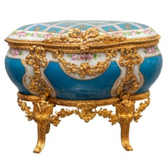 Antique Sévres Bleu Celeste Porcelain Jewelry Casket with Gold Ormolu Details