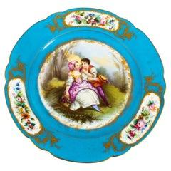 Antique Sevres Blue Celeste Porcelain Plate, 19th Century