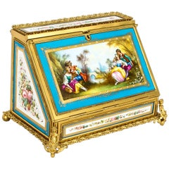 Antique Sevres Desktop Correspondence Casket Stationery Box, 19th Century