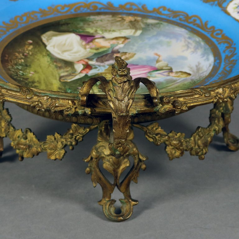 Louis XIV Antique Sevres Hand Painted and Gilt Pictorial Porcelain and Ormolu Charger For Sale