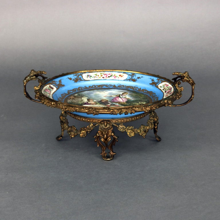 French Antique Sevres Hand Painted and Gilt Pictorial Porcelain and Ormolu Charger For Sale