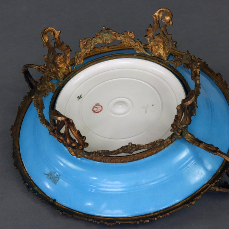 Cast Antique Sevres Hand Painted and Gilt Pictorial Porcelain and Ormolu Charger For Sale