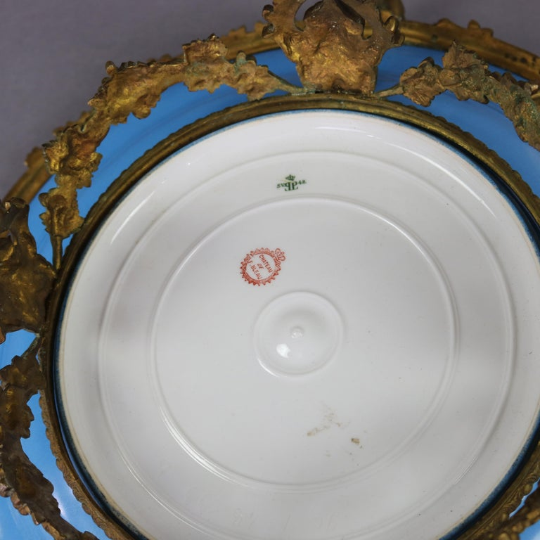 Antique Sevres Hand Painted and Gilt Pictorial Porcelain and Ormolu Charger In Good Condition For Sale In Big Flats, NY