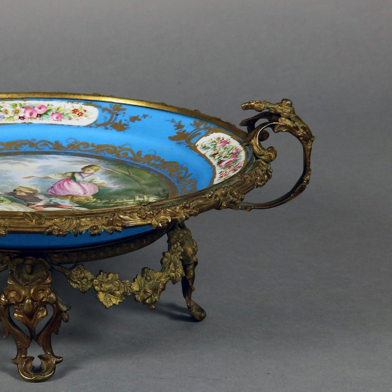 19th Century Antique Sevres Hand Painted and Gilt Pictorial Porcelain and Ormolu Charger For Sale