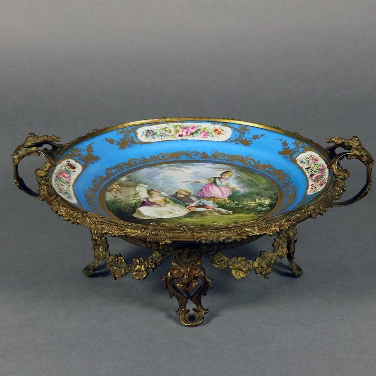 Antique Sevres Hand Painted and Gilt Pictorial Porcelain and Ormolu Charger For Sale 1