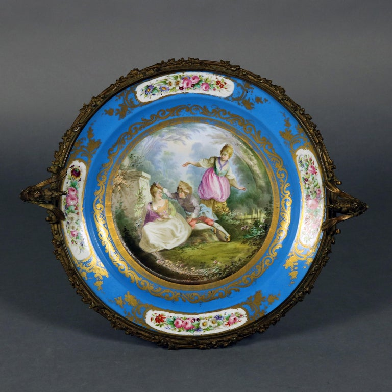 Antique Sevres Hand Painted and Gilt Pictorial Porcelain and Ormolu Charger For Sale 2