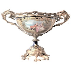 Antique Sevres Ormolu-Mounted and Hand Painted Porcelain Centerpiece or Compote