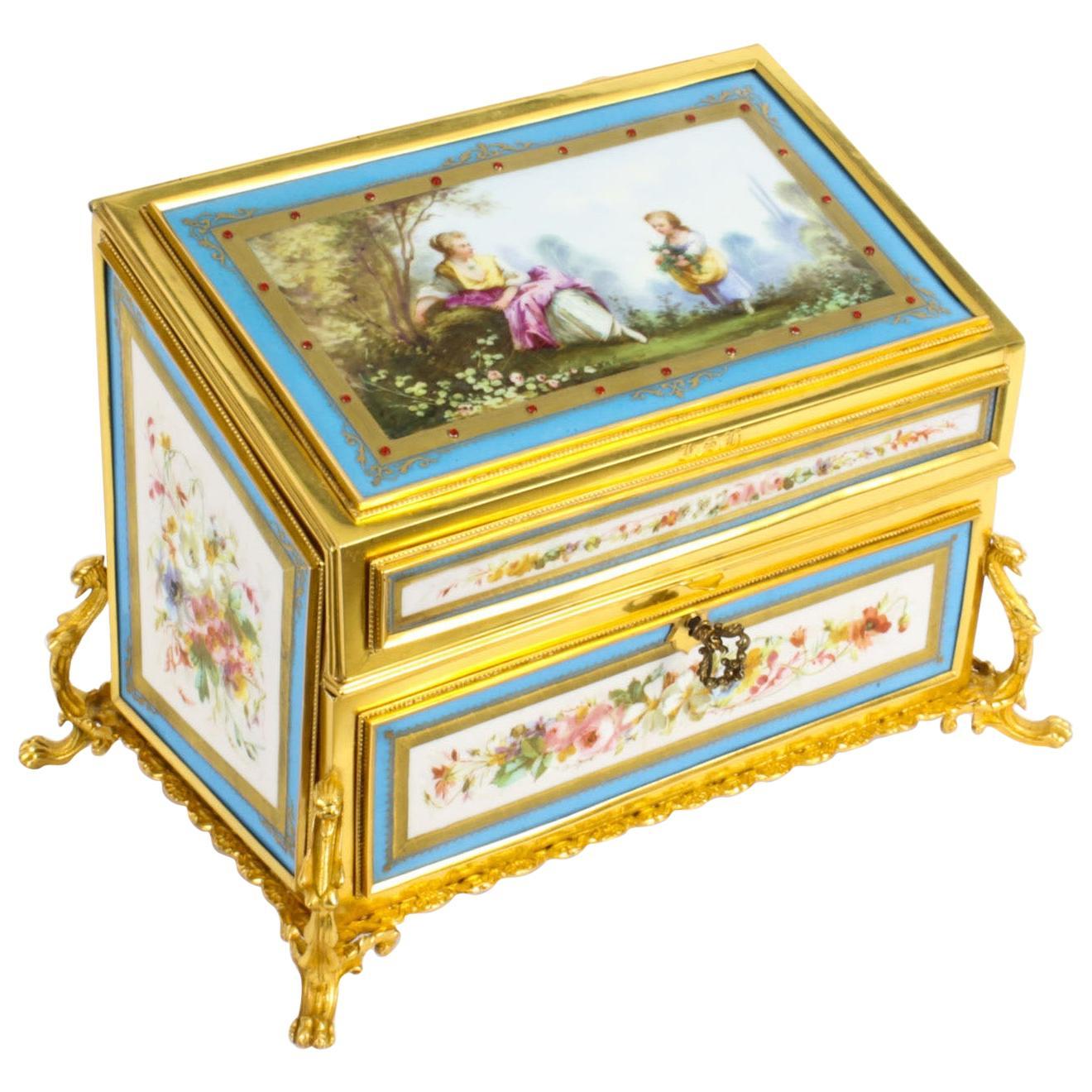 Antique Sevres Porcelain Desktop Correspondence Casket Stationery Box