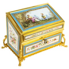 Antique Sevres Porcelain Desktop Correspondence Casket Stationery Box