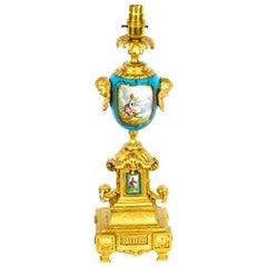 Antique Sevres Porcelain & Gilded Table Lamp, 19th C