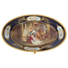 Antique Sevres Porcelain Ormolu Mounted Oval Dish, 19th Century