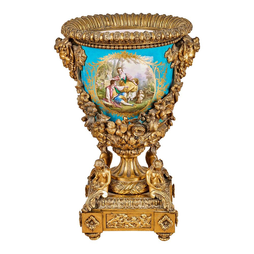 Antique Sevres-Style Porcelain and Gilt Bronze Mounted Compote