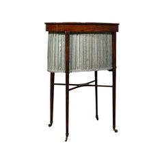 Antique Sewing Table, English, Mahogany, Silk Cotton, Work, Regency, Circa 1820