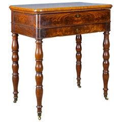 Antique Sewing Table, English, Victorian, Flame Mahogany, Side, circa 1840