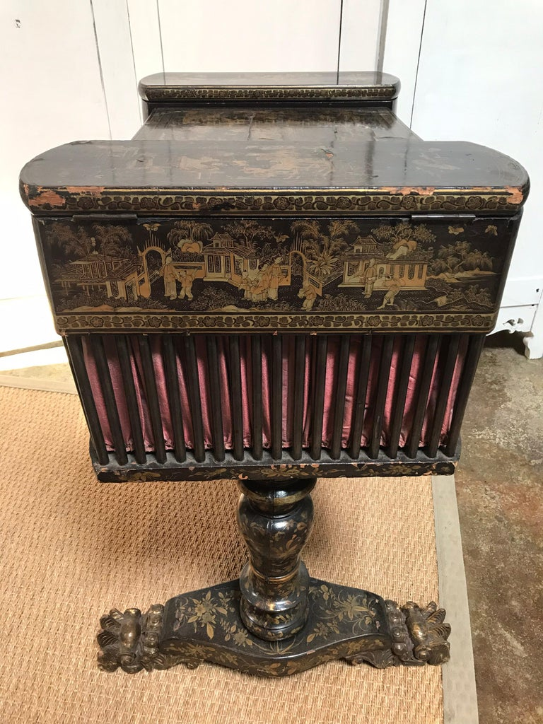 Lacquered Antique Sewing Table with Chinoiserie Lacquer 'English, Early 19th Century' For Sale