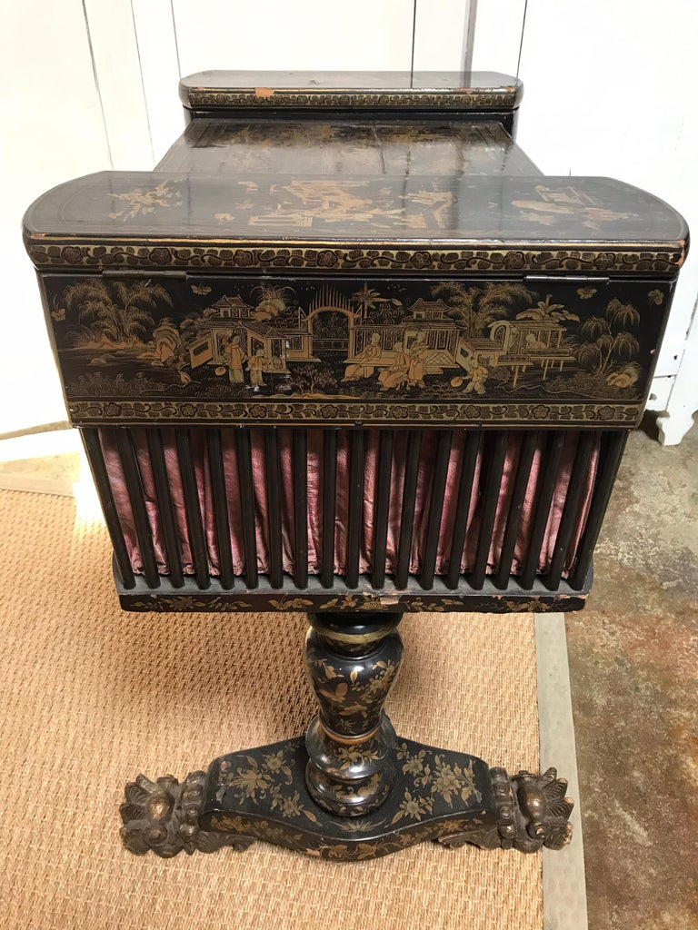 Wood Antique Sewing Table with Chinoiserie Lacquer 'English, Early 19th Century' For Sale