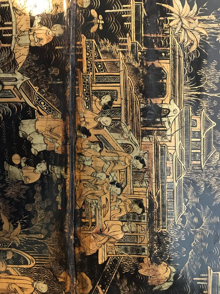 Antique Sewing Table with Chinoiserie Lacquer 'English, Early 19th Century' For Sale 2