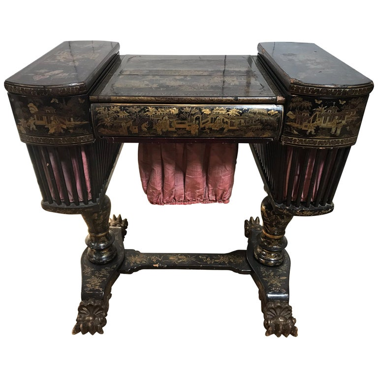 Antique Sewing Table with Chinoiserie Lacquer 'English, Early 19th Century' For Sale