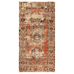 Antique Shabby Chic Caucasian Kazak Rug. Size: 4 ft 10 in x 9 ft 6 in