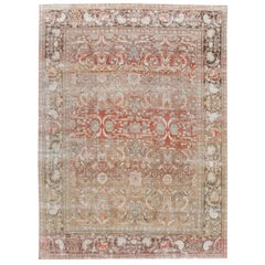 Antique Shabby Chic Red Mahal Wool Rug