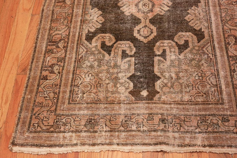 Hand-Knotted Antique Shabby Chic Tribal Malayer Runner Rug For Sale